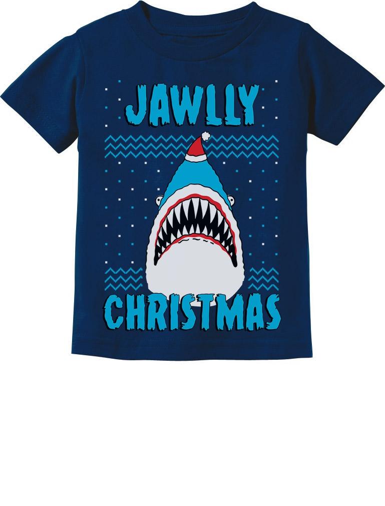 Santa Riding On a Shark Jaws Funny Christmas Youth Kids T-Shirt Funny