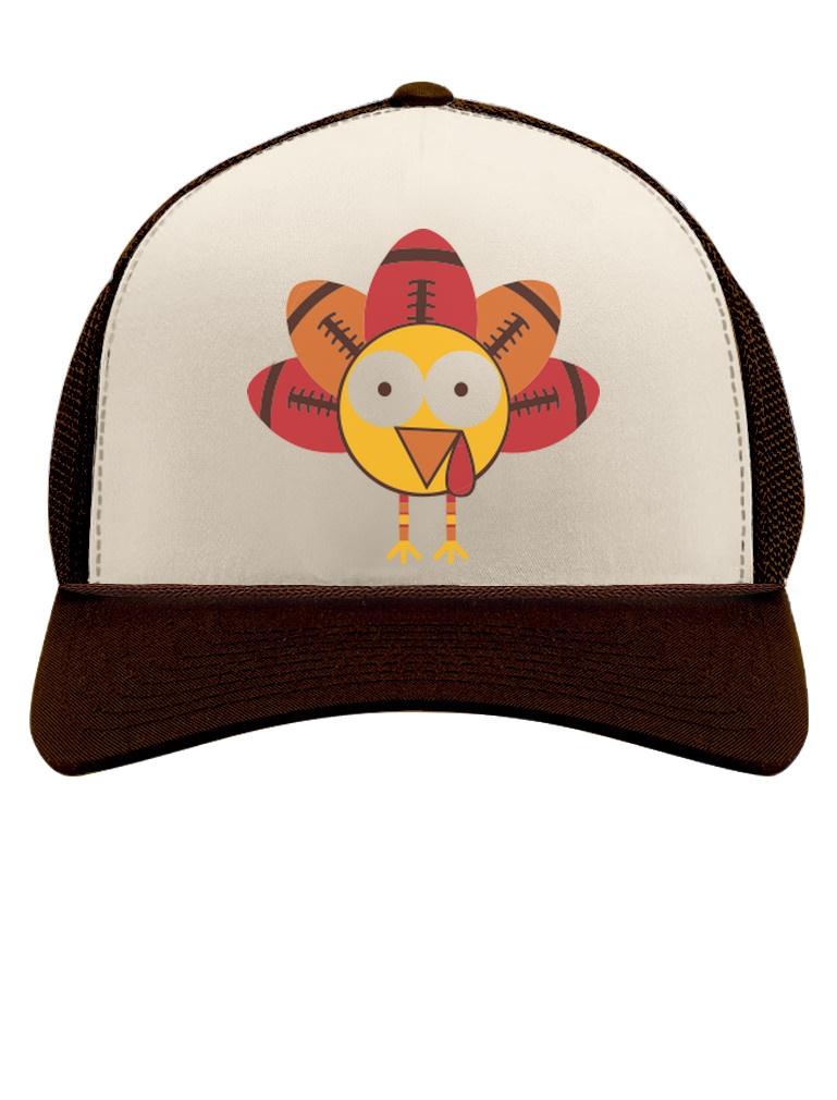 98f94ff257620 Thanksgiving Football Turkey Funny Holiday Trucker Hat Mesh Cap Gift ...