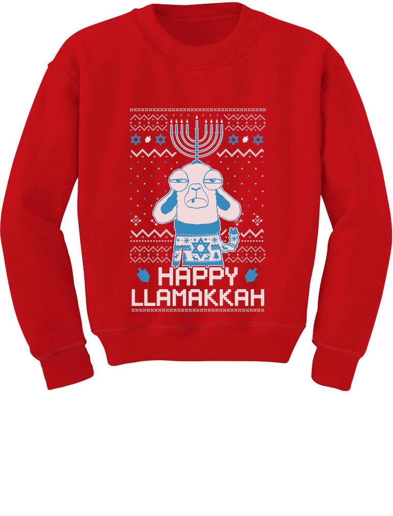 Happy Llamakah Ugly Sweater Toddler T-Shirt Hanukkah Holiday Gift