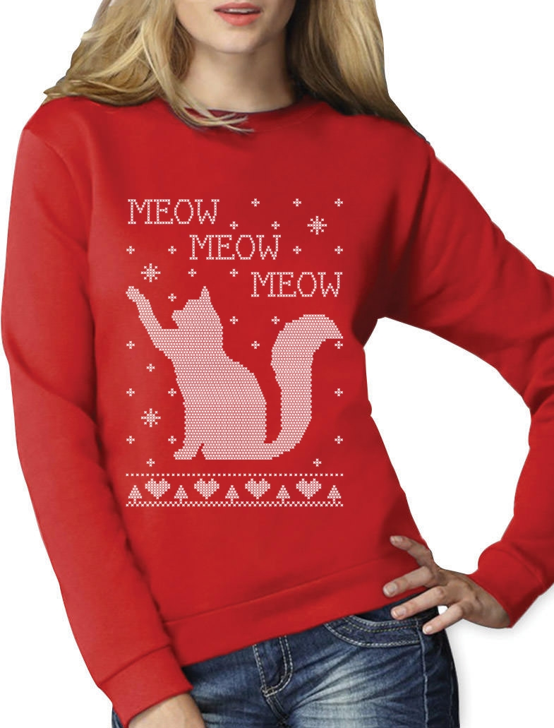 Cat Ugly Christmas Sweater Meow Purr Cute Xmas Apparel