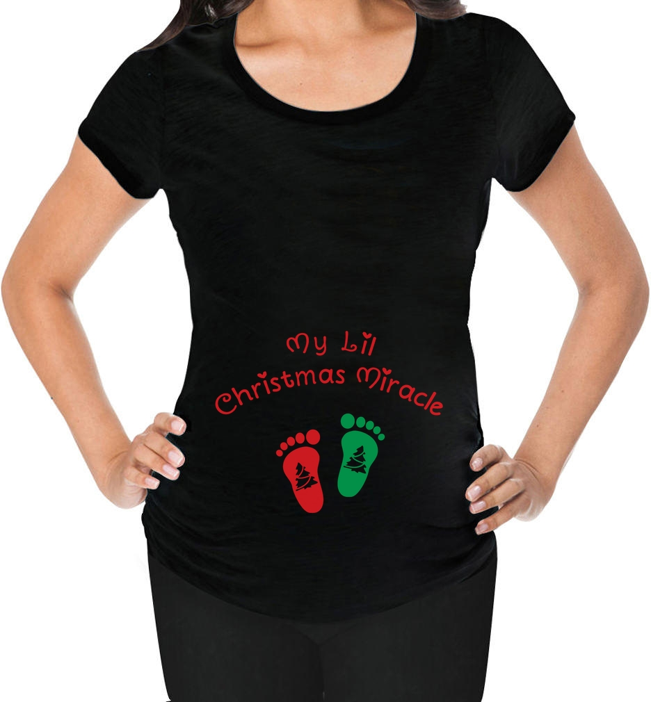 My lil 39 christmas miracle cute baby feet xmas maternity for Funny christmas maternity t shirts