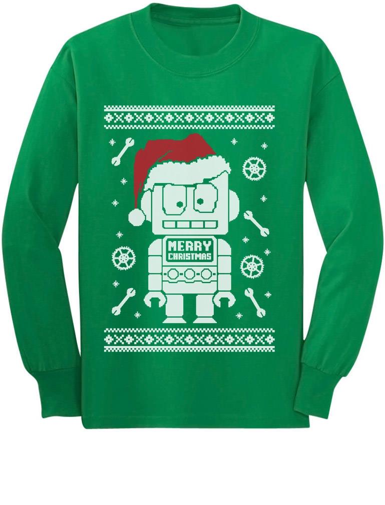Cute Robot Santa Ugly Christmas Sweater - Xmas Funny Long sleeve ...