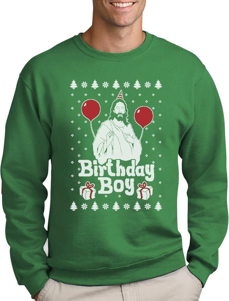 Ugly Christmas Sweater Jesus Birthday Boy Xmas Holiday Sweatshirt ...