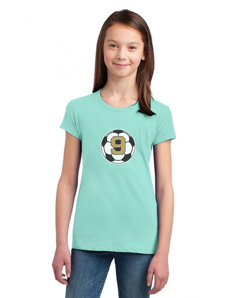 9 Year old Ninth Birthday Gift  Soccer Girls/' Fitted Kids T-Shirt Nine year old
