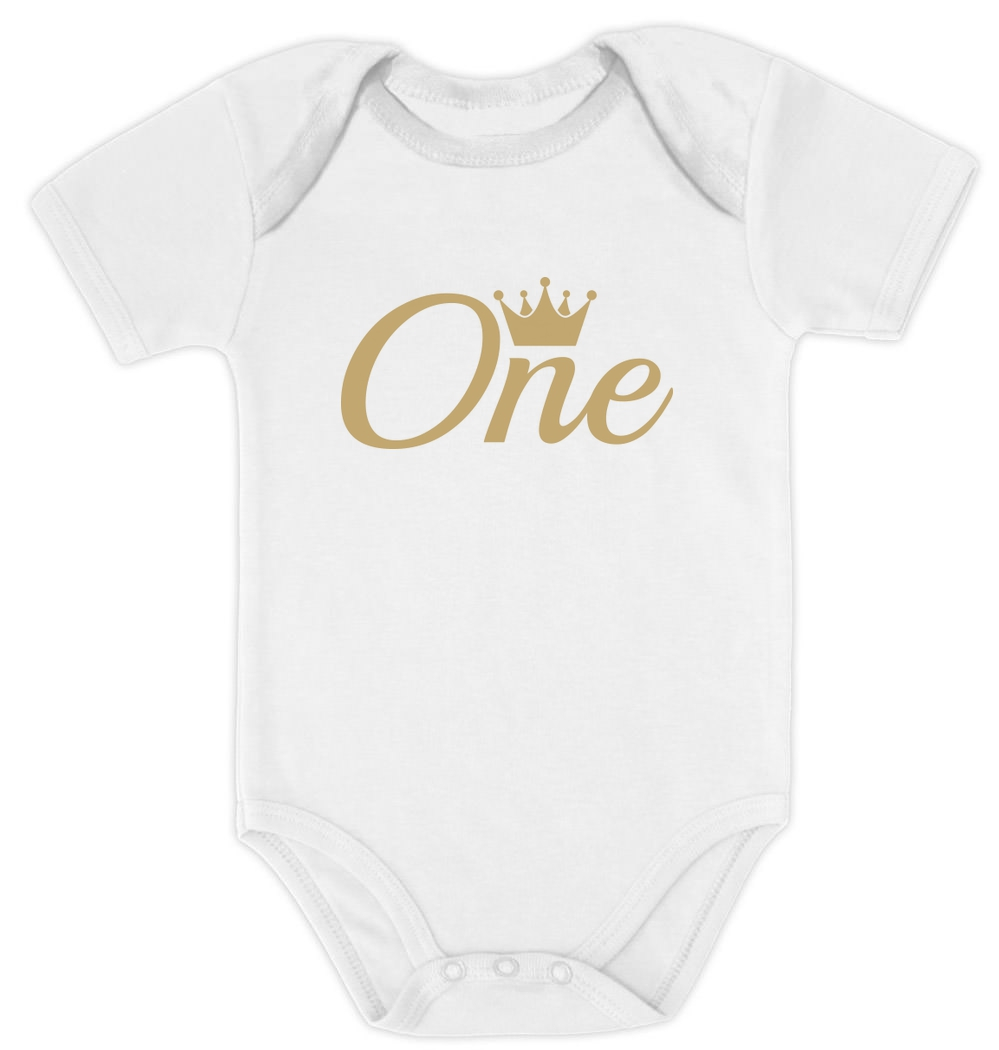 Girl Boy 1st Birthday Gift 1 Year Old Birthday Crown Baby Long Sleeve Bodysuit