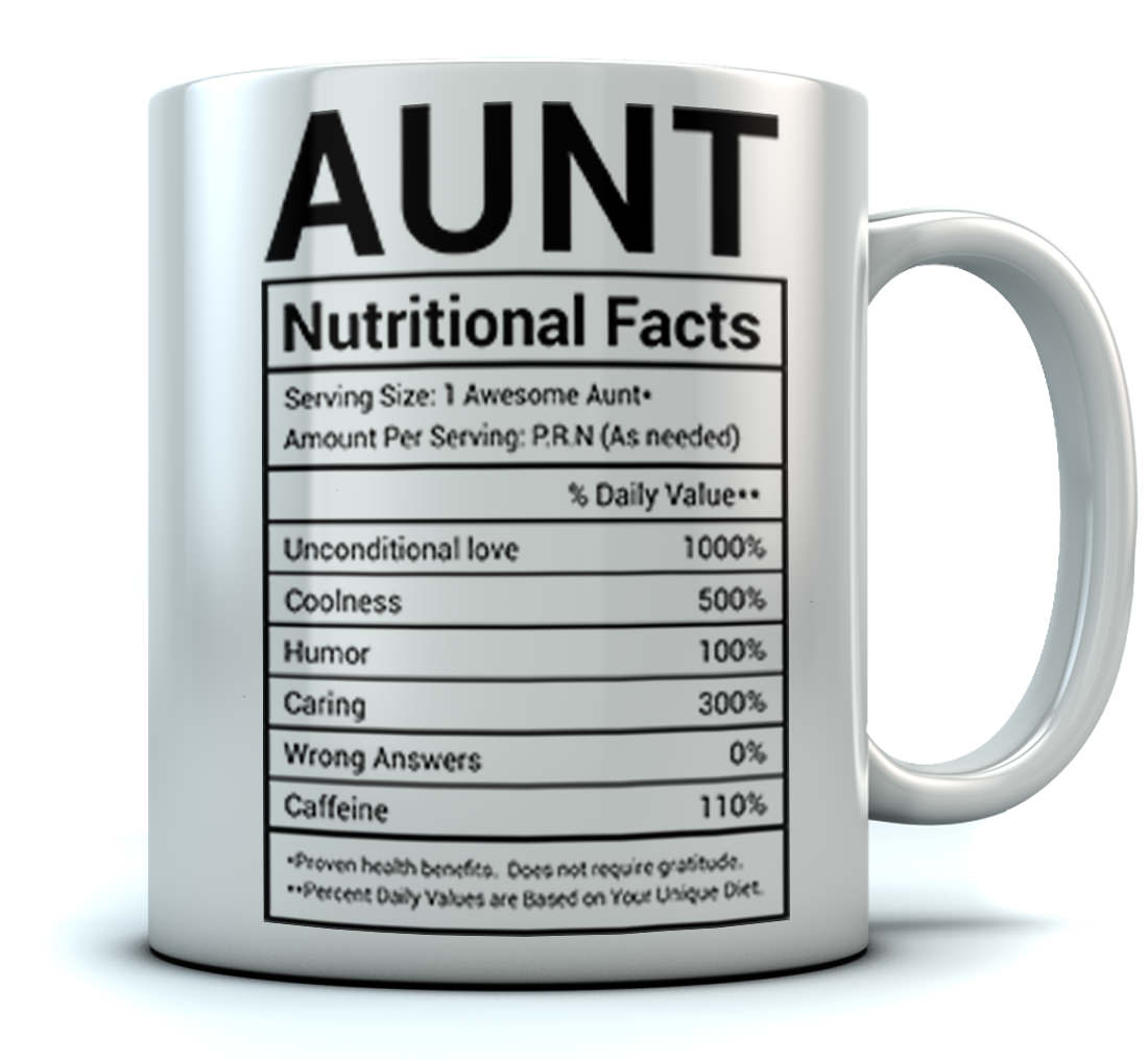 Aunt Nutritional Facts Label Funny Coffee Tea Ceramic Mug Office Work Cup Gift