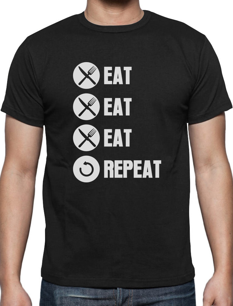 EAT SLEEP SMOKE REPEAT T-Shirt Funny 420 Cannabis Retro Weed Gift DTG S-5XL