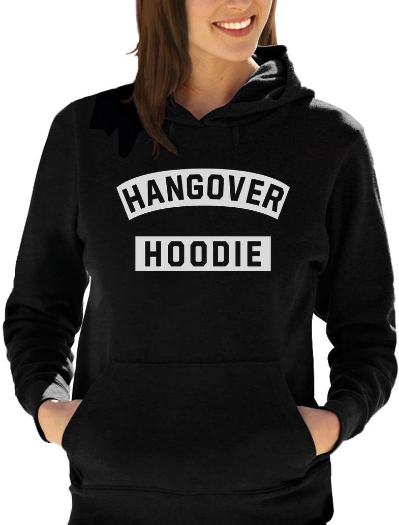 NEW WOMENS//LADIES HANGOVER HOODIE PRINT PULL OVER HOODY SWEATSHIRT CROP TOP 8-18