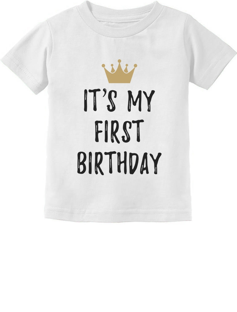 Details About Baby Boy Girl 1st Birthday Gift One Year Old Crown Infant Kids T Shirt