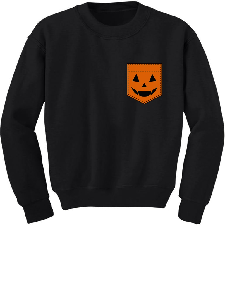 Halloween Jack O/' Lantern Pumpkin Pocket Print Sweatshirt Funny