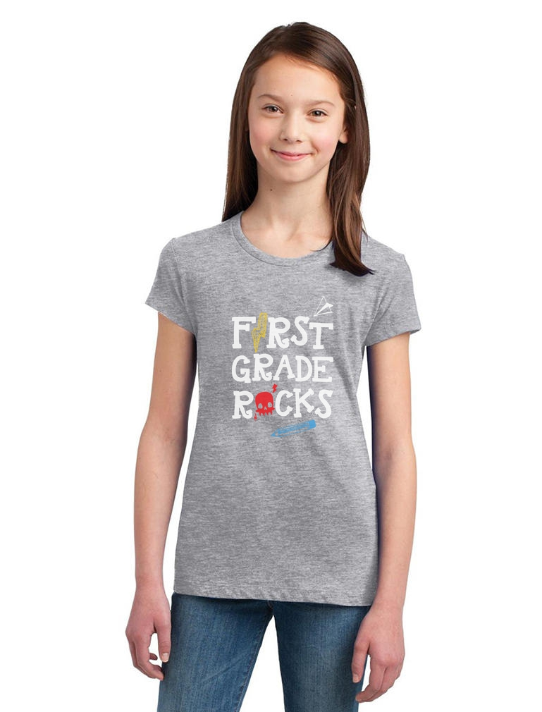 First Grade Rocks Funny 1st Grade Back To School Gift Girls Fitted