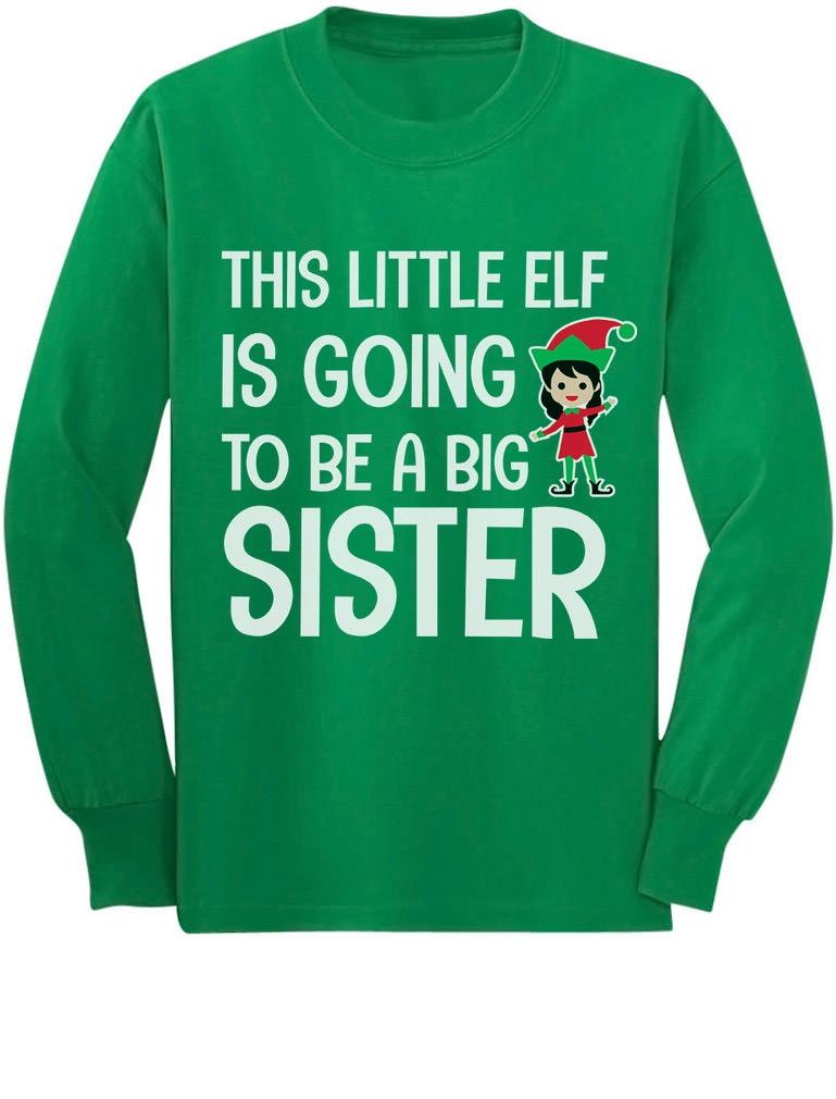 This Little Elf Is Going To Be a Big Brother Toddler//Kids Long sleeve T-Shirt