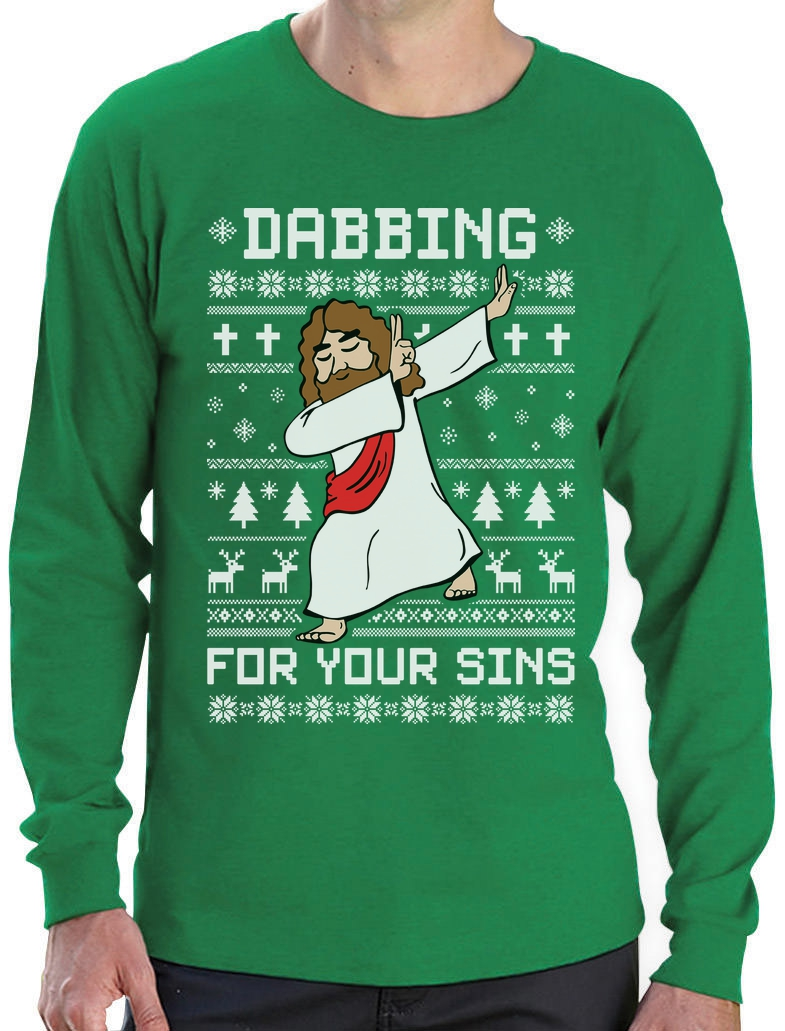 Dabbing For Your Sins Funny Jesus Dab Ugly Christmas Long Sleeve T-Shirt Xmas
