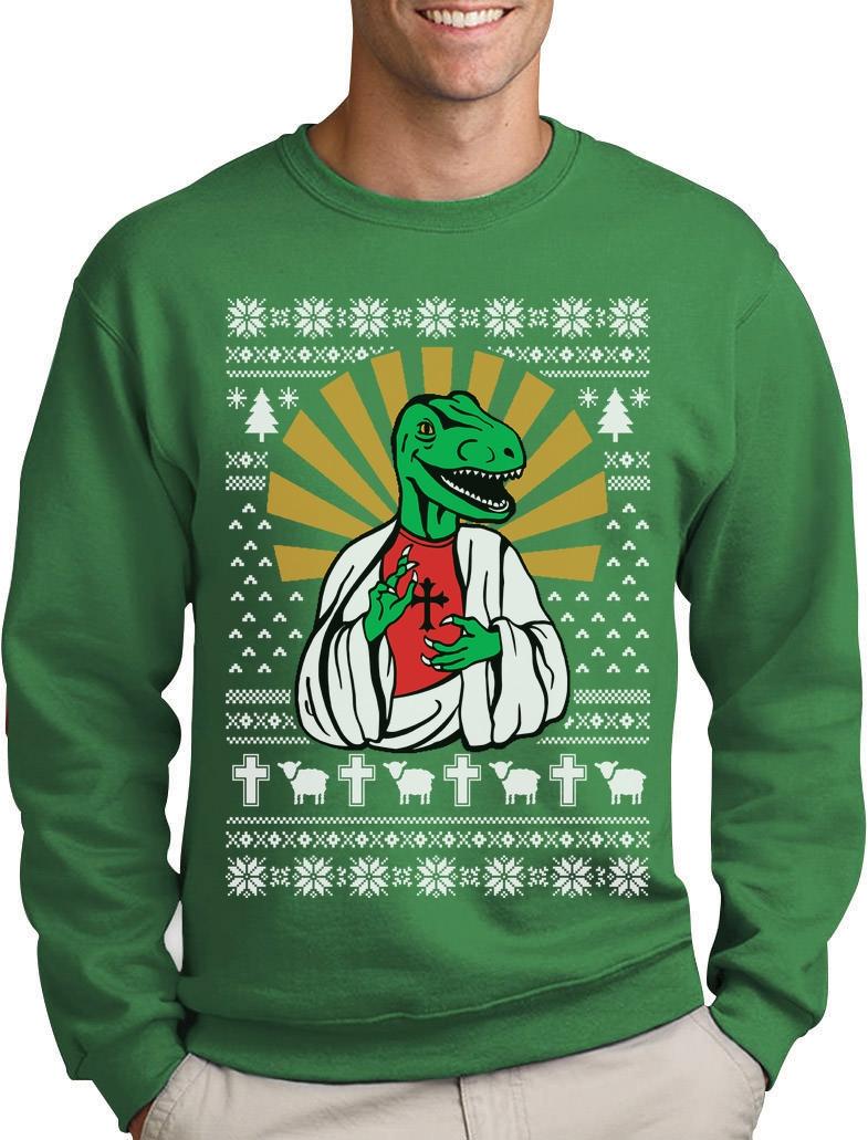 Dinosaur Raptor LOL Jesus T-rex MeMe Ugly Christmas Sweatshirt ...