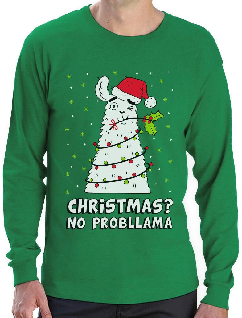 Christmas ? No PRobllama Llama Ugly Sweater Funny Long Sleeve T ...