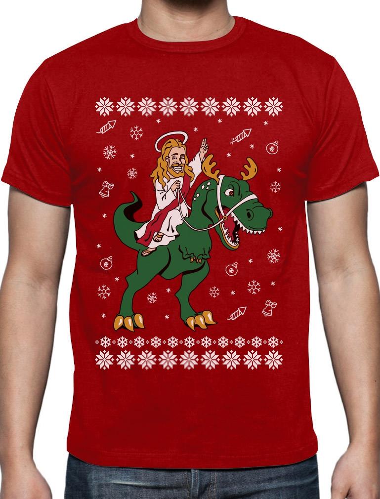 Rex Santa Ugly Christmas Men/'s T-shirt funny Xmas tee T
