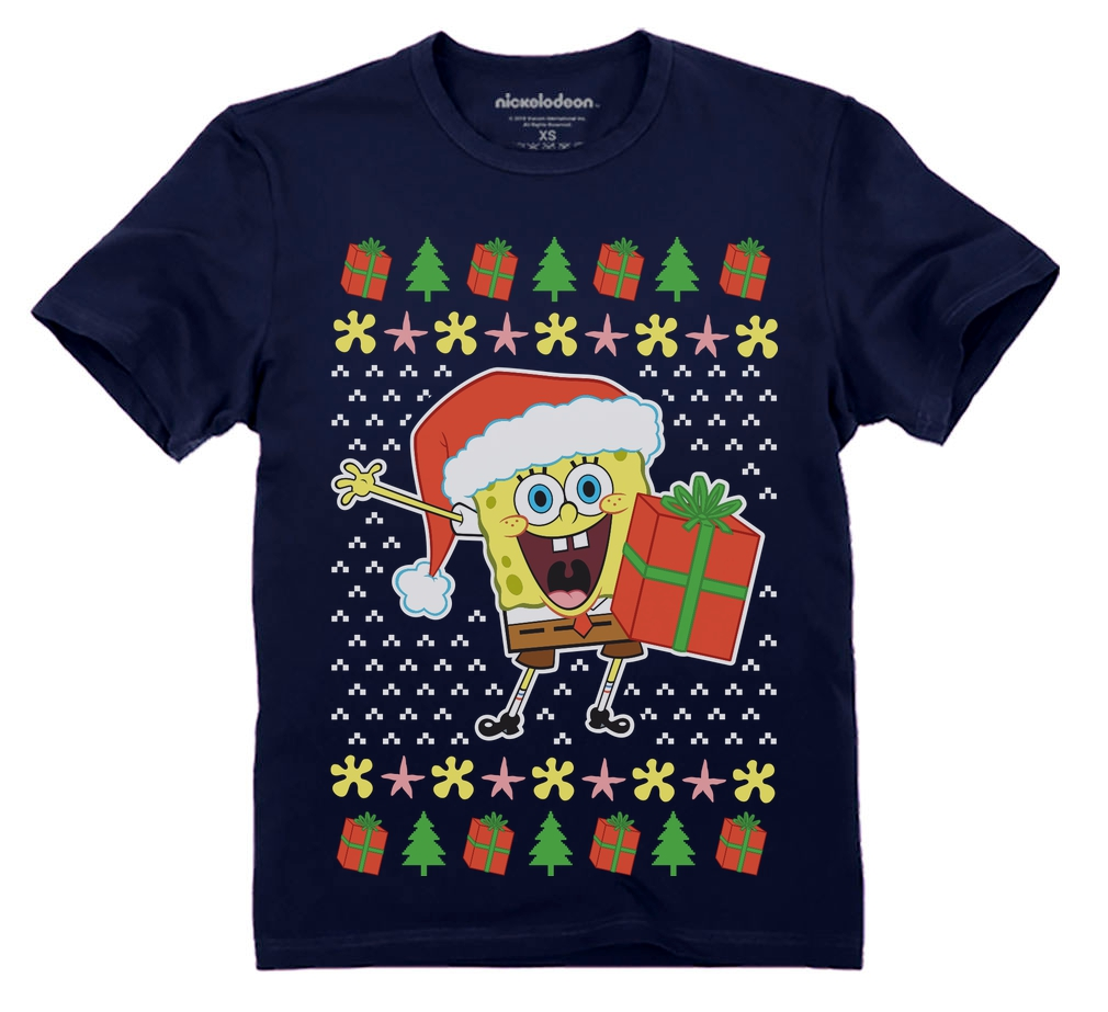 Spongebob Ugly Christmas Sweater Official nickelodeon Youth Kids T ...
