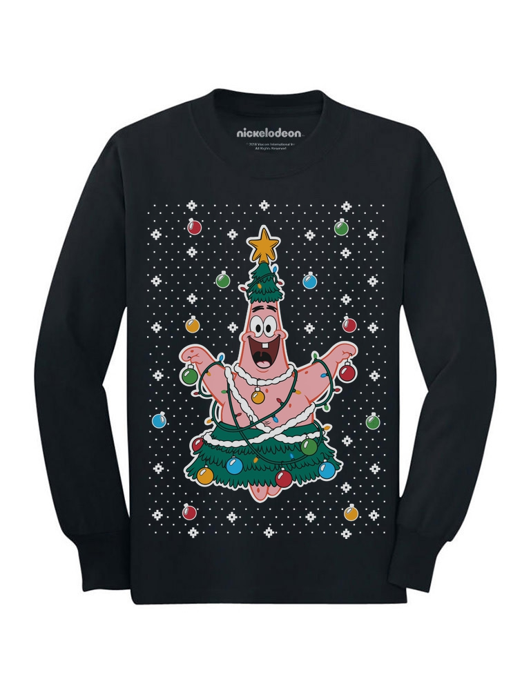 Spongebob Ugly Christmas Sweater Patrick Tree Youth Kids Long Sleeve ...