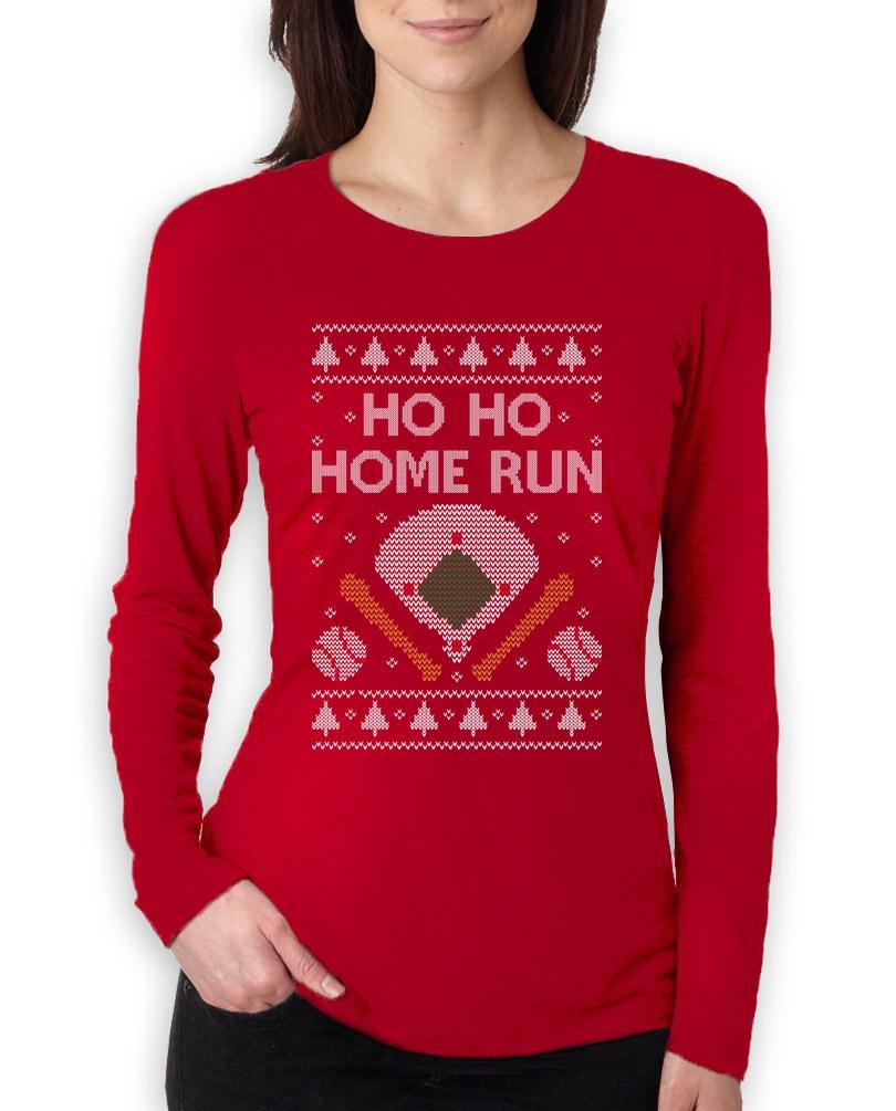 Ho Ho Home Run Baseball Fans Ugly Christmas Women Long Sleeve T ...